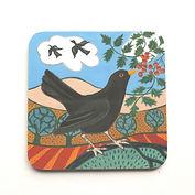 Blackbird on a coaster