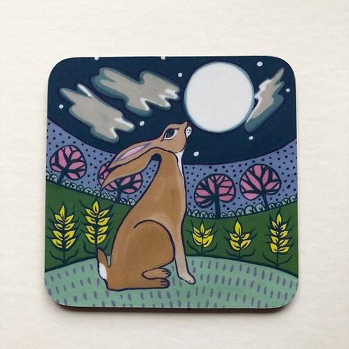 Moon gazing hare coaster