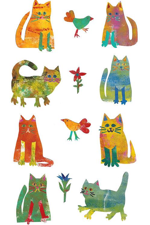 Garden Cats tea towel