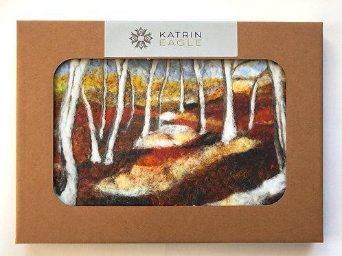 silver birch forest table mat wool art