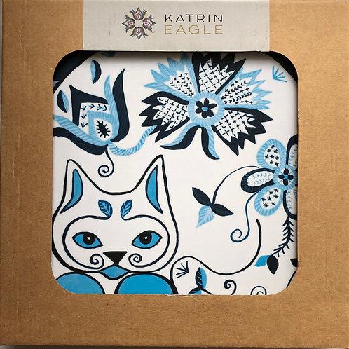 Set of 6 Folk Art Cat Placemats