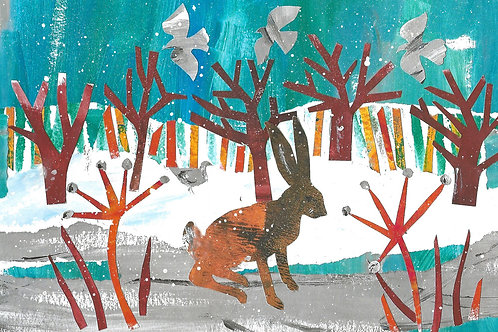 Xmas card 'When the trees are bare' x5