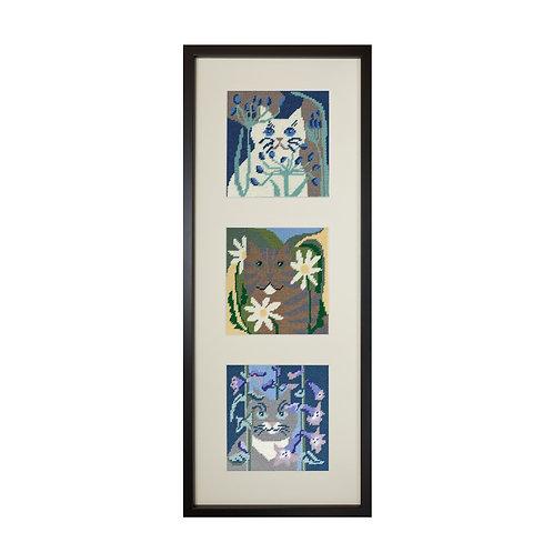 Cat needlepoint trio