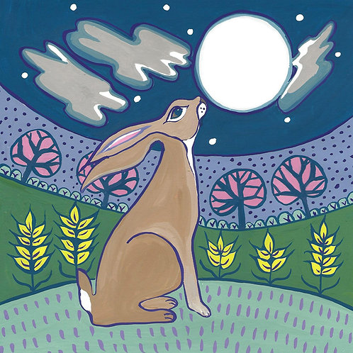 card moon gazing hare