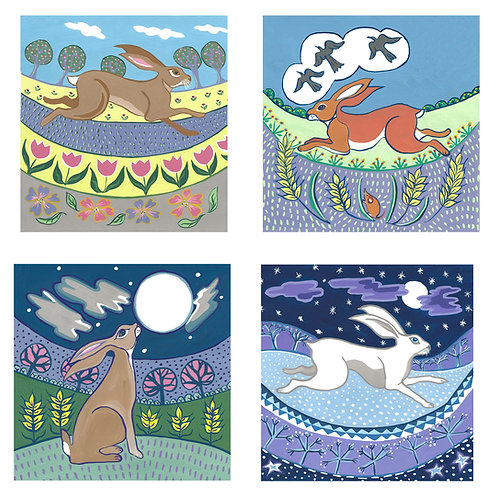 Set of 4 hare design cards