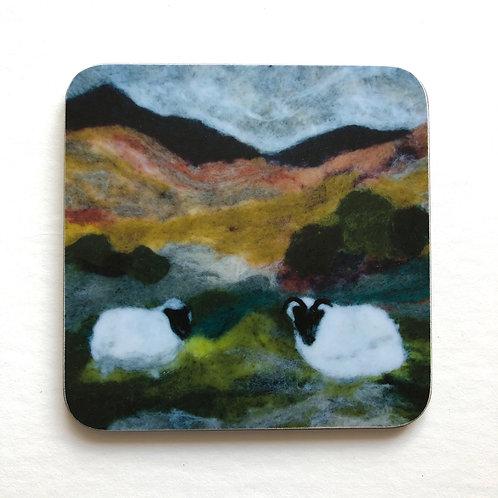 Wool art coaster 'Windy Hill'