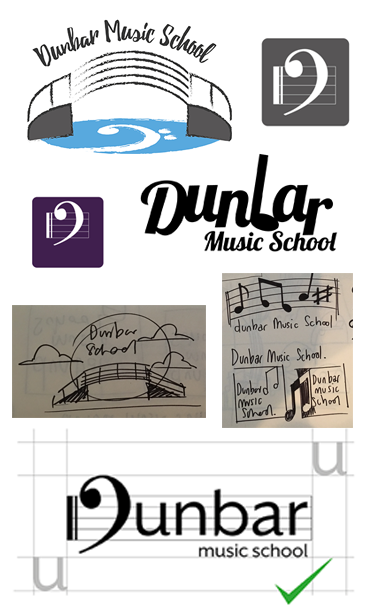 Avtar, logo designs, scamps for Dunbar Music School (IDEAlee, Crawley, West Sussex)