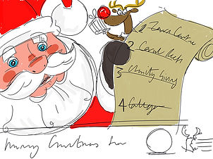 Santa, nice list, designer, illustrator, artist, scamp, illustration, design, artwork, draft, concept, father christmas, crawley, west sussex, surrey, south east