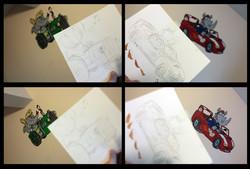 Transport/Animal Mural Drawings