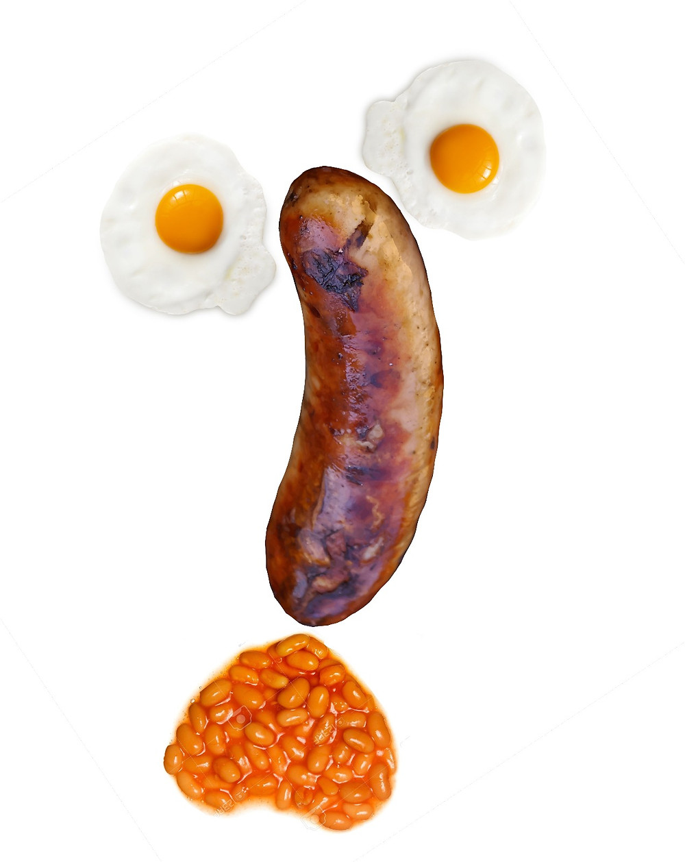 A breakfast face - with egg eyes, a sausage long nose and baked bean mouth!