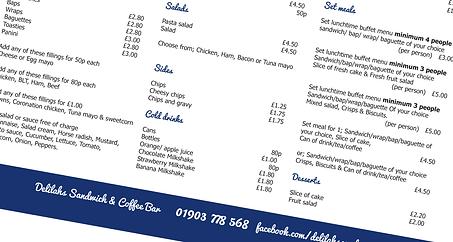 Menu, Leaflet, promotional, poster, flyer, design, designer, graphic, surrey, Delilahs Sandwich & Coffee Shop, Rustington, IDEAlee, Crawley, West Sussex