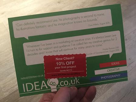 leaflet, flyer, IDEAlee, discount, offer, design, designer, photography, photographer, illustration, marketing, branding, promotion, logo, crawley, Sussex, West Sussex, Surrey, Crawley, Kent, South East, poster, advertising, bespoke, services, creative, agency, consultancy, studio