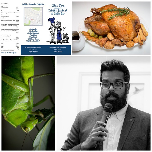 Collage shot of some recent work, Romesh Ranganathan, Turkeys, Bridgers, Menu, design, graphic, photography, macro, rustington, sussex, surrey, south east, crawley, marketing