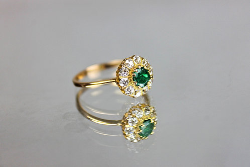 Emerald and Diamonds Ring Gold 19.25 Old European Cut