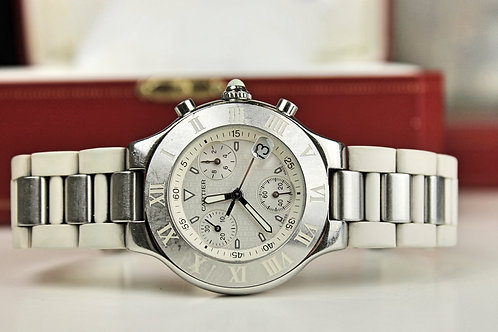 Cartier Must 21 Chronoscaph SS  White Ref 2424