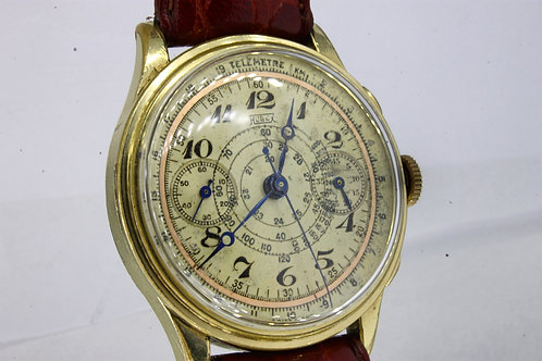 Hugex Chronograph Gold Plated Valjoux 22 - 50's