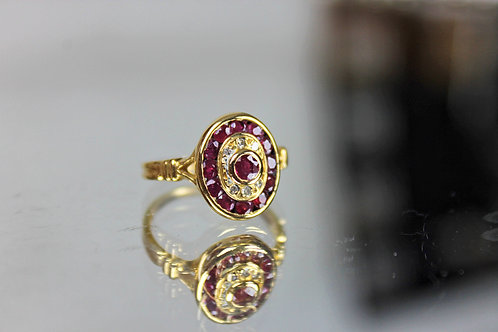 Rubies and Diamonds Ring Gold 18 Klts