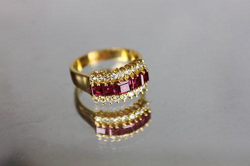 Rubies Princess Cut and Diamonds Ring Gold 19.25 Klts