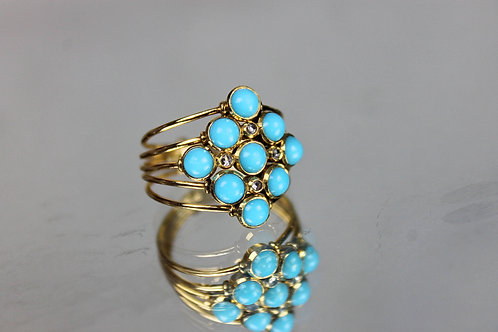 Turquoise and Diamonds Ring Gold 18 Klts