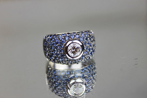 Leo Pizzo Ring 2.41ct Sapphires and 0.73ct Diamonds White Gold 18 Klts