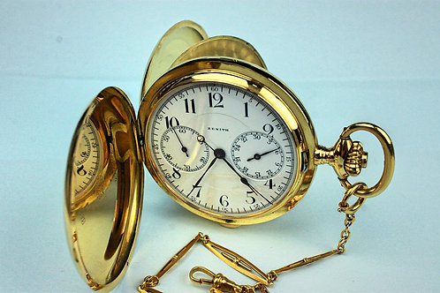 Zenith Chronograph 18K Solid Gold Pocket Watch