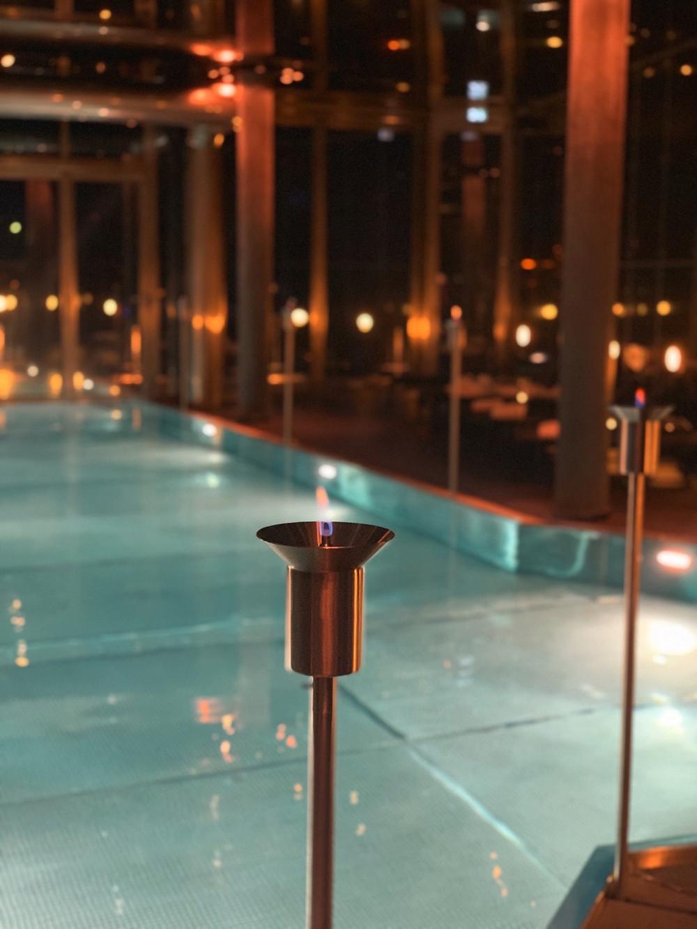 The Omnia Pool at Night