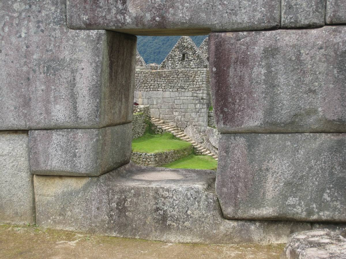Stenen muur in Machu Picchu