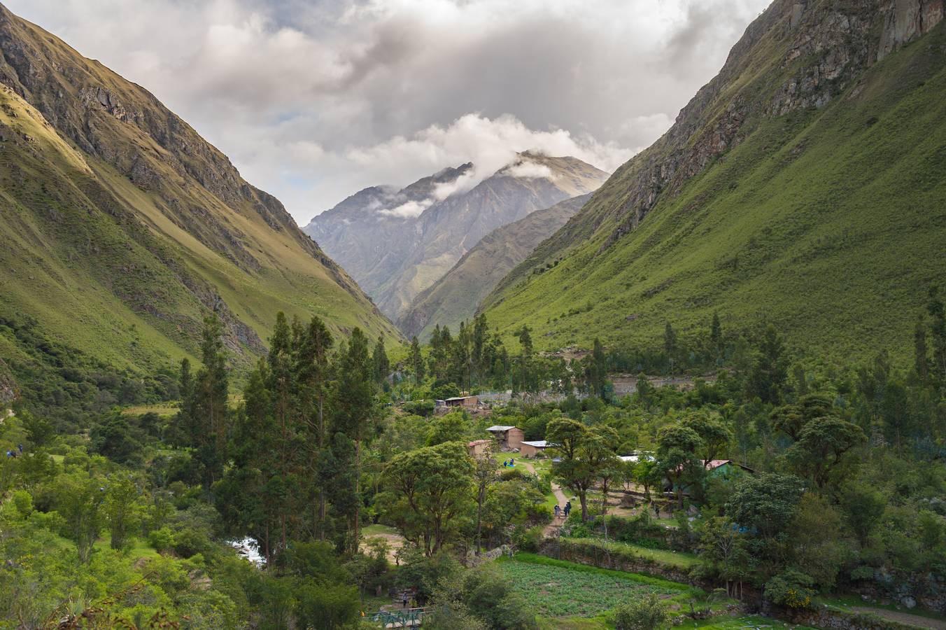 Huayllabamba de kampeerplaats op Dag 1 tijdens de Inca Trail