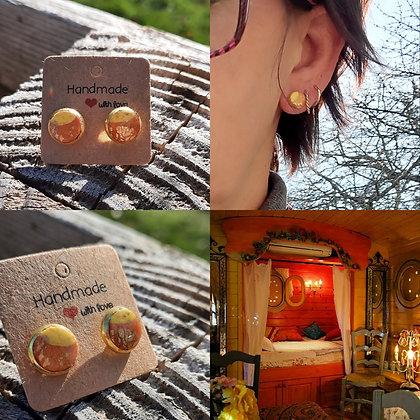Boucles d'oreilles en pâte polymère et acier or