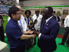 A delegation led by the Honorary Minister of Agriculture of Ghana Hon. Dr. Owusu Afriyie Akoto arriv