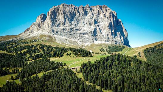 Blick auf den Langkofel in Südtirol