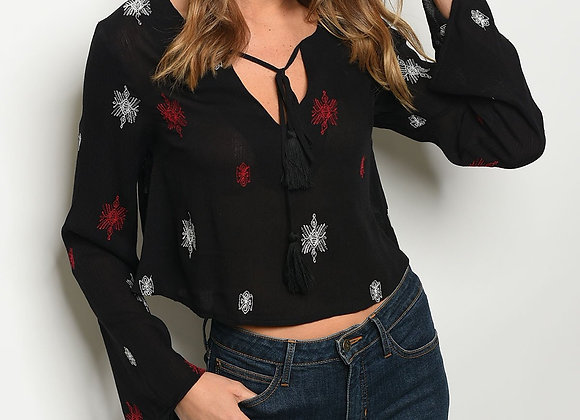 Womens Embroidery Black Top