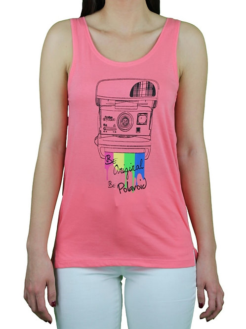 Camiseta Polaroid Cámara Rosa