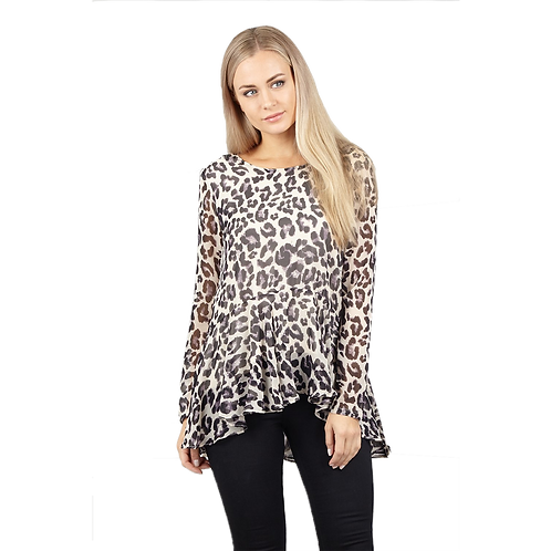 Top volante animal print