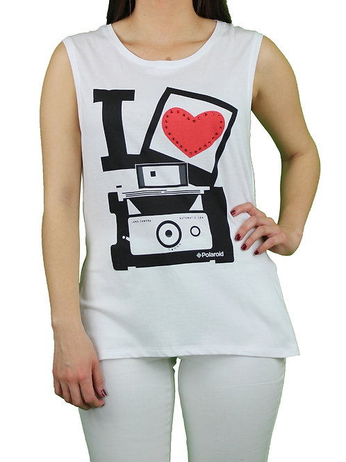 Camiseta Polaroid Love Blanco