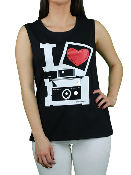 Camiseta Polaroid Love Negro
