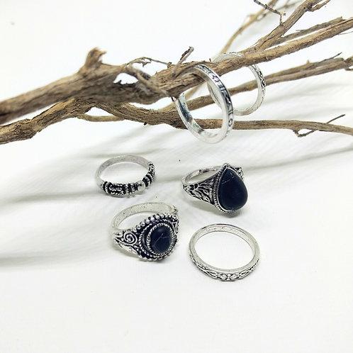 Kit de anillos STONE PLATA