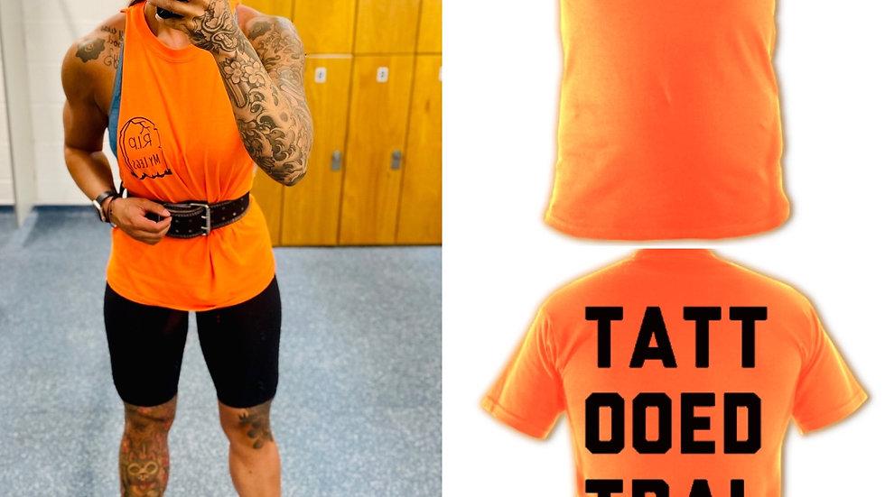 Bright Orange Leg Day Tattooed Trainer Tee/Vest