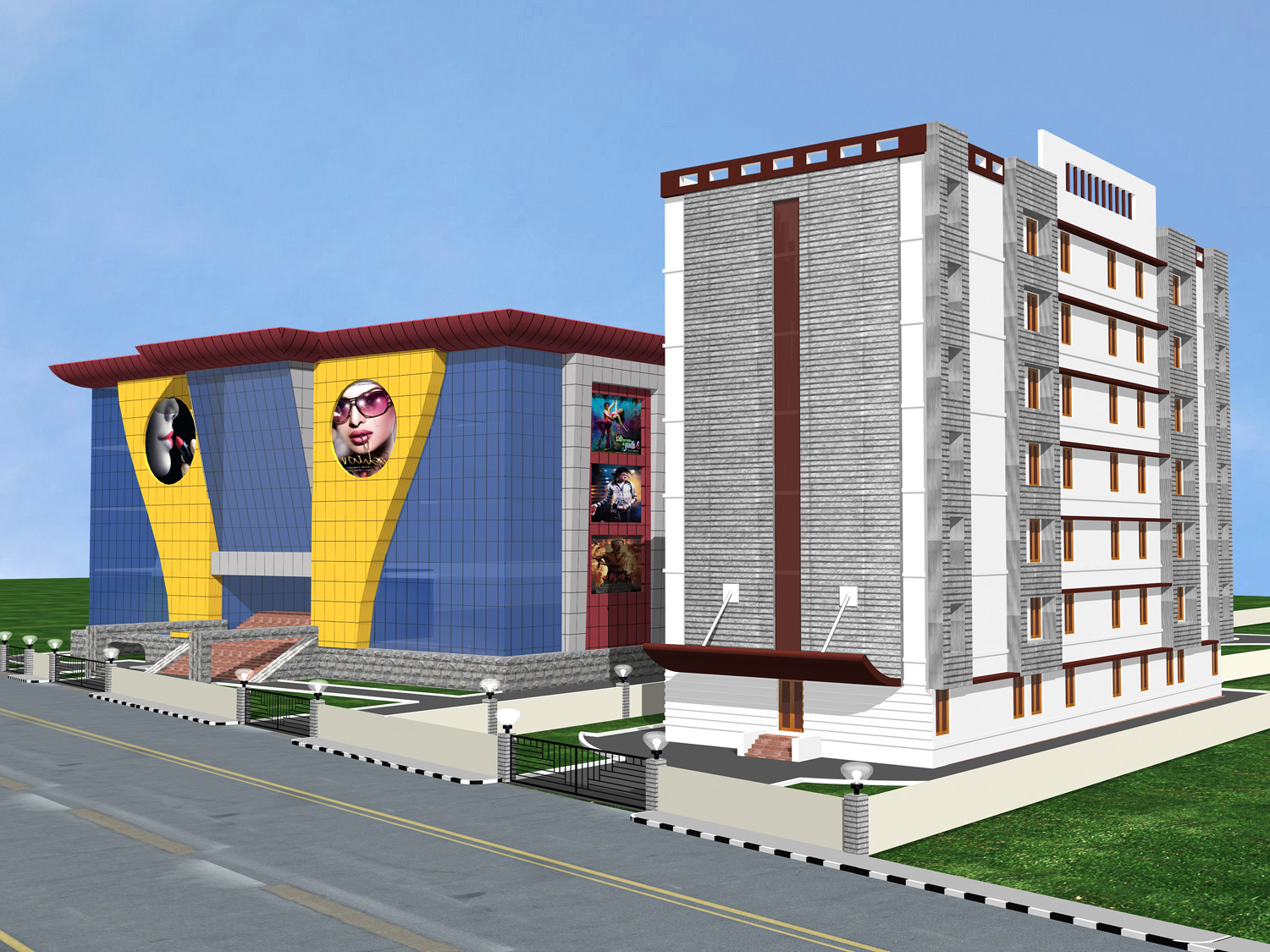Mall and mulitiplex with hotel