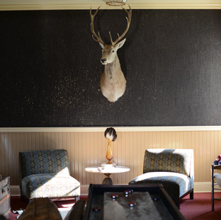 view of shuffle board table, 2 oversized velvet chairs with a small round marble table in between them. On the dark wall is a taxidermy blonde elk