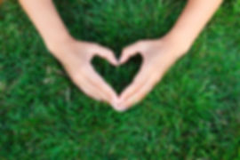 Hands making the shape of a heart over a bed of green grass