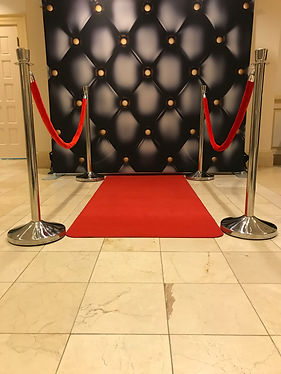 JamBooth Photos Black Leather Backdrop, Red Carpet, Stanchions