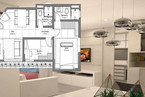 Projeto para Apartamento Inteiro: 6 Ambientes