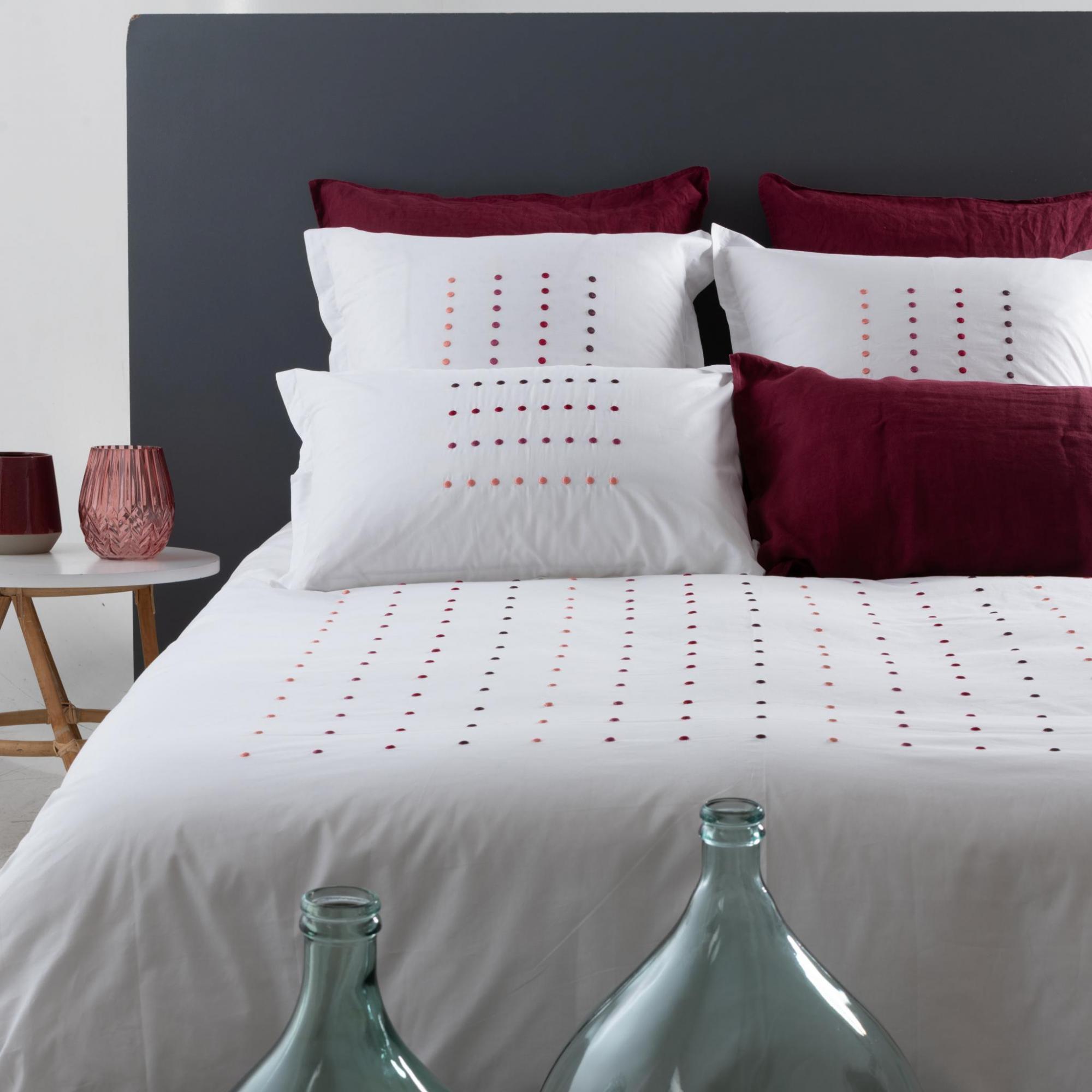 Linge De Maison Montréal carré blanc montréal | parure de lit dots corail