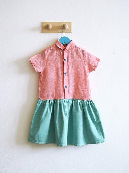 Růžovo-mentolové šaty vel. 104