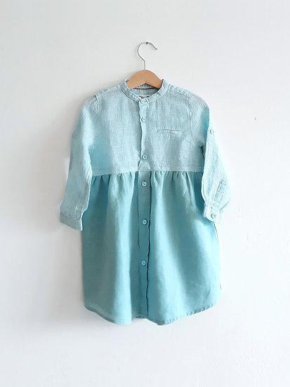 Mintové šaty lněné