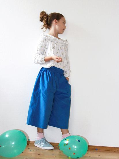 Culottes s barevnými kapsami královsky modré