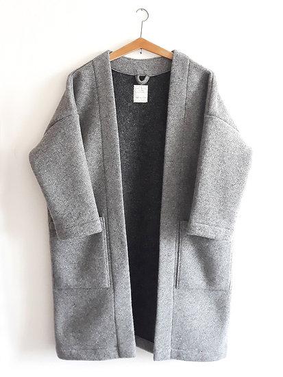 Kabát s přímesí vlny světle šedý