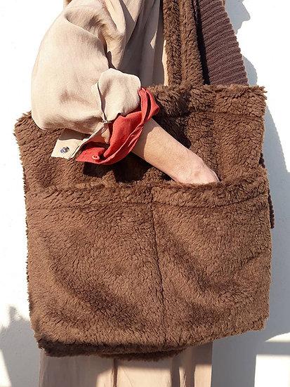 Teddy bag – dvě kapsy, plyšové uši