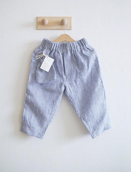 Unisex lněné kalhoty pruhované